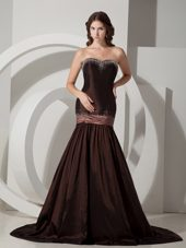 Brown Mermaid Sweetheart Long Beading Pageant Celebrity Dress