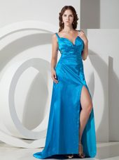 Blue Column Straps Beading High Slit Pageant Celebrity Dress