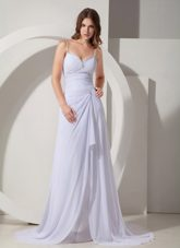 Beautiful Prom Evening Dress White Column Spaghetti Straps