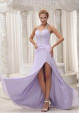 Beading Halter Prom Celebrity Dress Ruche Lilac High Slit