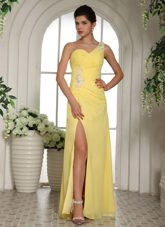 Cheap Light Yellow Prom Pageant Dress One Shoulder High Slit