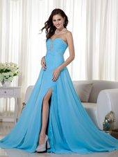 Baby Blue High Slit Beading and Ruche Prom Evening Dress