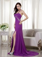 Purple Halter 2013 Prom Evening Dress With Beading and Ruche