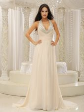 Halter Top Beading Ruche Prom Evening Dress For 2013