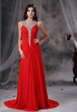 Cheap Beading Scoop Red For 2013 Prom Evening Dress