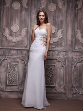 Sexy White Prom Pageant Dress One Shoulder Ruche and Beading