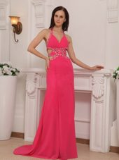 Hot Pink Halter Beading Brush Train Prom Pageant Dresses