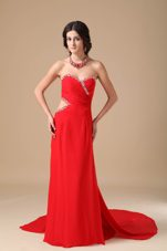 Red Sweetheart Beading Court Train Pageant Evening Dress