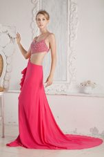 Hot Pink Beading Spaghetti Straps Chiffon Pageant Celebrity Dresses