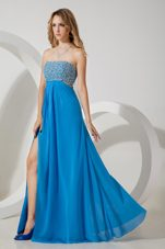 2013 Sexy Strapless Teal Chiffon Sequins Pageant Celebrity Dress