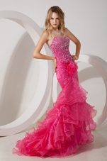 Mermaid Coral Red Beading Strapless Brush Train Pageant Gowns