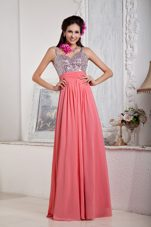 Watermelon Red Sequin Empire Straps Prom Pageant Dress