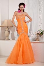Mermaid Orange Sweetheart Beading Floor-length Prom Pageant Dress