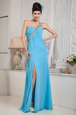 Aqua Blue One Shoulder Empire High Slit Prom Pageant Dress