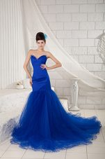 Mermaid Royal Blue Beading Sweetheart Chapel Prom Pageant Dress