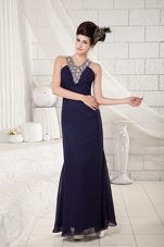 V-neck Navy Blue Column Ankle-length Beading Prom Pageant Dress