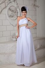 One Shoulder White Empire Straps Beading Pageant Evening Dress