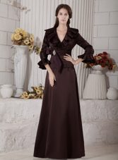 Brown V-neck Satin Beading Mother of the Bride Dress with Sleeves