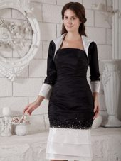 White and Black Sheath Knee-length Mother of Bride Dress with Beading