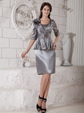 Silver Scoop Knee-length Satin Mother of the Bride Dress with Jacket