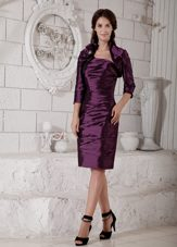 Purple Mother of the Bride Dress with Jacket Sheath Taffeta Ruching