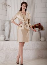 Champagne Knee-length Mother of the Bride Dresses with Sleeves