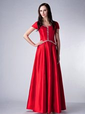 Red Satin Scoop Floor-length Beading Mother of the Bride Dresses