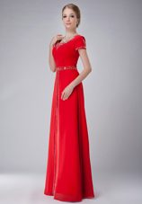 Red Short Sleves Scoop Neck Chiffon Beading Mother of The Bride Dress