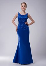 Scoop Floor-length Royal Blue Beading Taffeta Mother of Bride Dress