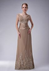 Champagne Appliques V-neck Floor-length Mother of The Bride Dress