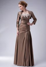 Brown Ruching Floor-length Mother of The Bride Dresses with Jacket