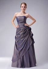Purple Strapless Beading Mother of Bride Dress with Overlay Pleats