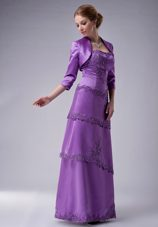 Purple Layers of Appliques Mother of The Bride Dress with Jacket