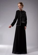 Black Empire Chiffon Beading Mother of The Bride Dress with Jacket