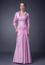 Pink Floor-length Taffeta Mother of The Bride Dress with Appliques