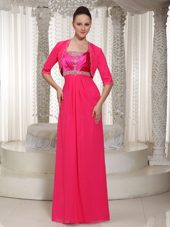 Beaded Hot Pink Chiffon Mother of The Bride Dress with Jacket