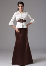 2013 White and Brown Mother of The Bride Dress with Long Sleeves