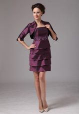 Dark Purple Layers Mother of The Bride Dresses with Beading