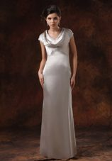 Satin V-neck Sliver Mother of The Bride Dress with Short Sleeves