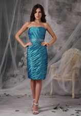 Teal Sheath Knee-length Taffeta Ruching Mother Dress with Jacket