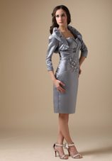 Grey Column Sweetheart Short Beading Mother of The Bride Dress