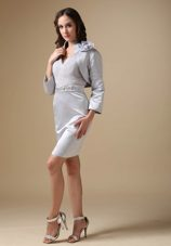 Grey V-neck Column Short Mother of The Bride Dress with Jacket