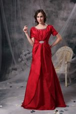 Red Scoop Ruched Beading Mother of Bride Dress with Sleeves