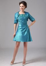 Appliques Teal Ruching Mother of The Bride Dress with Jacket