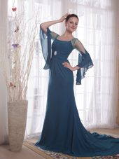 Navy Blue Trumpet Sleeves Square Chiffon Bride Mother Dress
