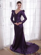 Dark Purple V Neck Sweep Train Mother of The Bride Dress