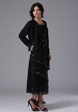 2013 Black Sleeves Beading Mother of The Bride Dress