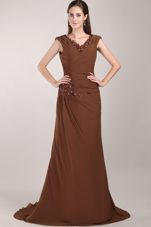 Brown V Neck Brush Train Beading Mother of The Bride Dress
