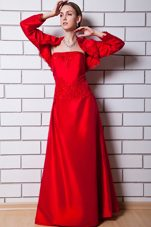 Strapless Shimmering Floor Length Mother Dress in Red