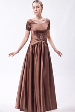 Brown A Line Mother of The Bridal Dress With Short Sleeves